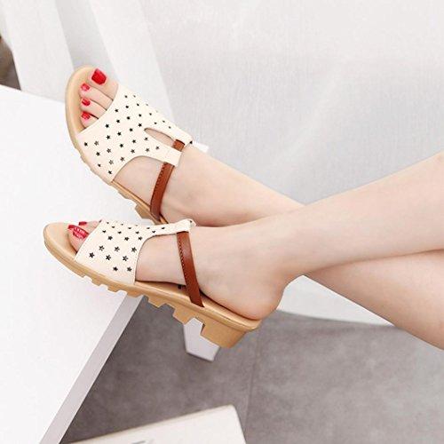 Hunpta Frauen weiblich Sandalen Fashion Solid Sommerstrand gleitet Hausschuhe Schuhe Beige