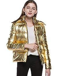 Mujer Abrigo Invierno Cortos Elegantes Color Sólido Caliente Parka Invierno Encapuchado Niña Warm Zip Cómodo Moda