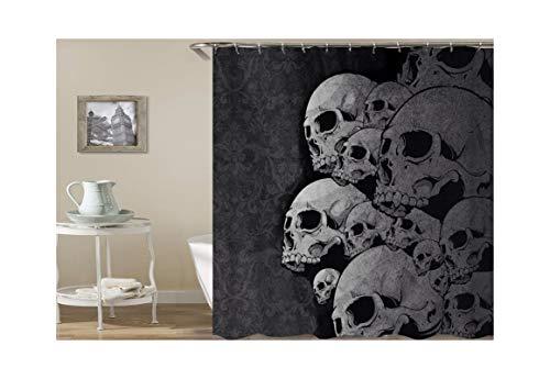 0X180 cm Schädel-Muster Polyester Duschvorhang Textil Grau Duschvorhang für Badezimmer ()
