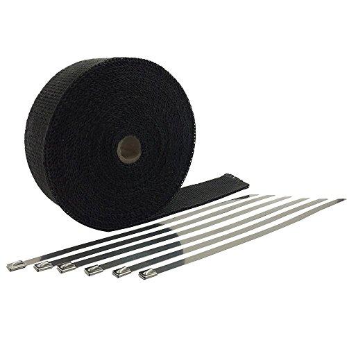 HM&FC Hitzeschutzband Fiberglas 10M Auspuffband + Kabelbinder für Fächerkrümmer Auto Motorrad Thermoband Krümmerband Schwarz (andere Farbe umfassen)
