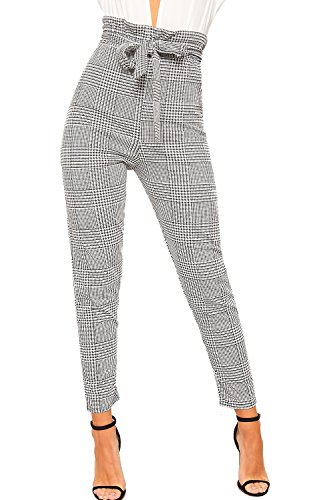 WearAll Women's Houndstooth Check Print Paper Bag Ruffle Frill Belted Ladies Trousers 6-14