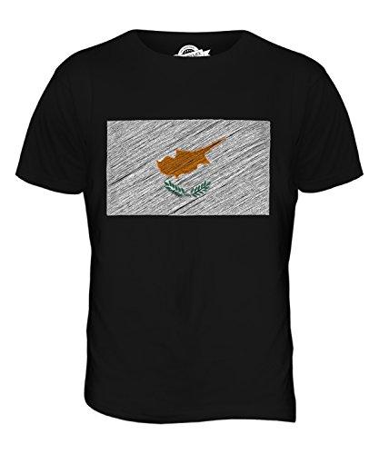 CandyMix Cipro Bandiera Scarabocchio T-Shirt da Uomo Maglietta Nero