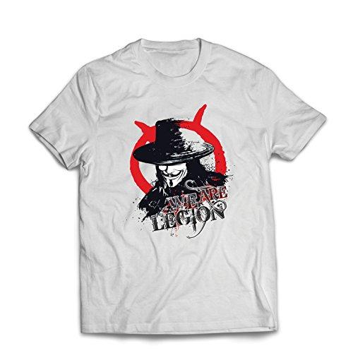 lepni.me Männer T-Shirt Wir sind Legion - Vendetta - Die Maske von Anonym (Large Weiß Mehrfarben)