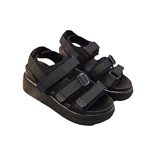 Sandales chaussures d'été fond épais velcro sandales romaines double fond chaussures étudiantes Black