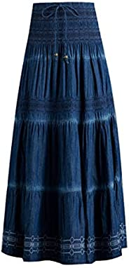 Femiserah Women's Bohemian Embroidered Flare A-Line Smocked Waist Long Maxi Denim S