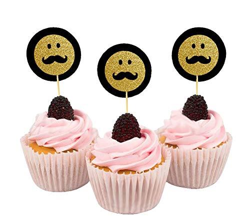 Darling Souvenir, Glitter Schnurrbart Emoji Smiley Form-Kuchen-Deckel, Es ist EIN Junge-Baby-Duschen-Party-Dessert Dekoration - Packung mit 40 (Schnurrbart-kuchen-deckel)