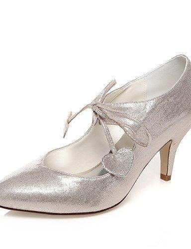 GGX/ Damen-Hochzeitsschuhe-Absätze-High Heels-Hochzeit / Kleid / Party & Festivität-Silber , 3in-3 3/4in-ivory (Kleid 3 Silber Schuh Damen Zoll)