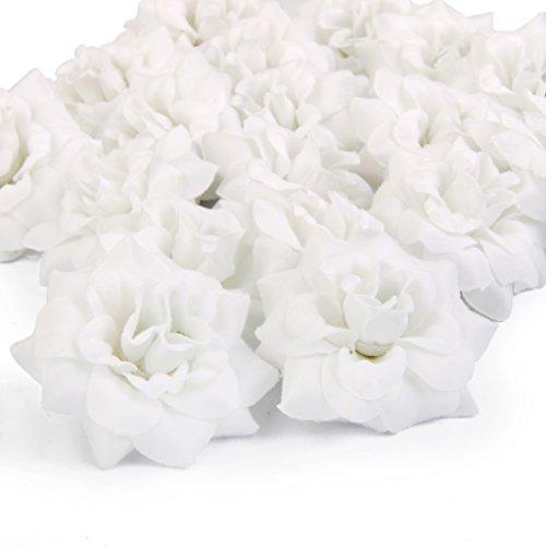 50 Stk. Seide Rosen Künstliche Braut Clips Hochzeit Dekoration Blumenköpfe (Weiß) (Weiße Rose Künstliche)