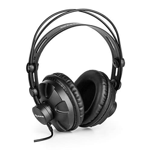 auna HR-580 Studiokopfhörer • Over-Ear-Kopfhörer • geschlossene Kopfhörer • größenverstellbar • Lederband • extra langes Kopfhörerkabel • für Homestudio, Gaming und Instrumentenaufnahmen • schwarz -