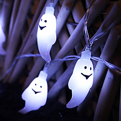 Morbuy LED Halloween-Lichterketten, 10 LED Geist Lichter for Halloween Weihnachts Dekorationen Indoor&Outdoor Theme Parteien Festival (1.2cm*10LED, Weiß)