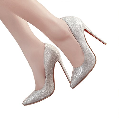 ENMAYER Womens Slip auf Stilett High Heels Spitz Zehe Pumps Schuhe Silber