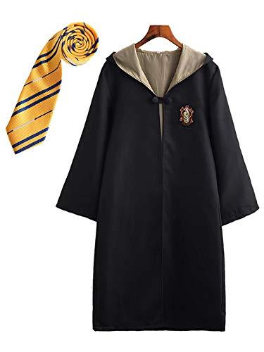 FStory&Winyee Kinder Erwachsene Cosplay Kostüm Harry Potter Kostüm Umhang Film Fanartikel Outfit Set Zauberstab Krawatte Schal Brille Karneval Verkleidung Fasching Halloween schwarz 115-185 Groß Größe