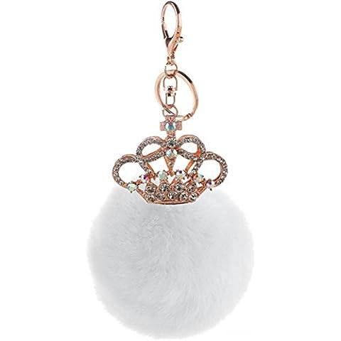 ZPL Peluche morbido vera pelliccia di coniglio catena chiave corona fascino portachiavi donna borsa viola ciondolo auto portachiavi , 4