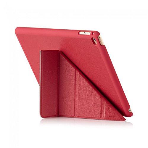 Pipetto iPad Air 2 Hülle Leder Rot Saffiano Faltbare Origami Halterung Stand für Apple iPad Air 2 (6. Generation) -