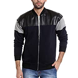 Campus Sutra Mens Quilted Cotton Jacket (AZW17_JKCAR_M_PLN_BUBLGR_AZ_Blue, Black and Grey_Small)