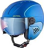 ALPINA Kinder Carat Le Visor HM Skihelm, Blue-neon-Yellow matt, 54-58 cm