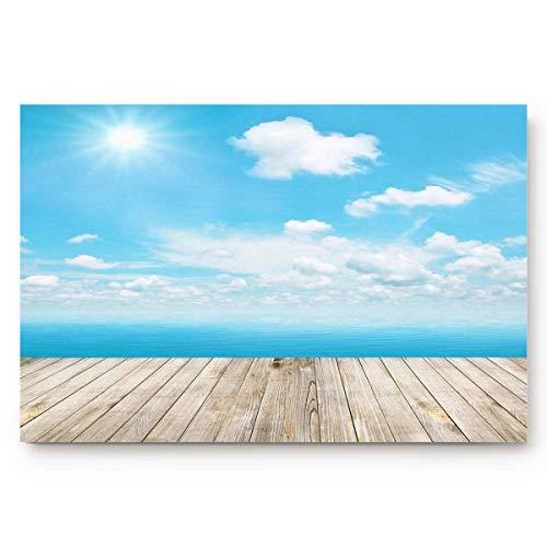 AdaCrazy Blauer Himmel-Hintergrund-Musterflanell-Innenboden-Matten-Badeteppiche verhindern das Verrutschen und das Schleudern des super saugfähigen 3D-Drucks 60x40cm -