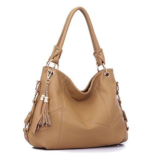 Hkiss Fransen-Tasche, Schulterdiagonal, tragbar, PU-Leder, für Abendessen und Einkaufen 15.7x5.9x11 inches Khaki