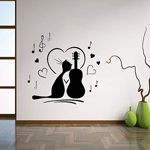 yiyiyaya Katze Mit Gitarre Wandtattoos Music Notes Wandaufkleber Für Kindergarten Baby Kinder Schlafzimmer Dekoration Wandkunst Mural 56X56 cm