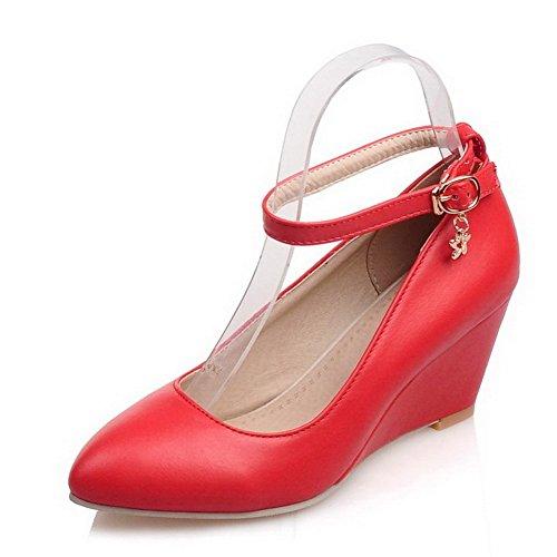 Do Dedo Calcanhar Vermelho Pé Sapatos Couro Do Bombas Meados De Fivela Pu Puro Allhqfashion Pontas Senhoras FxnzB78H