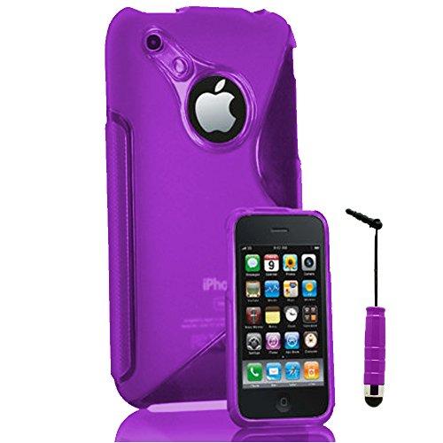 VComp-Shop® S-Line TPU Silikon Handy Schutzhülle für Apple iPhone 3G/ 3GS + Großer Eingabestift - VIOLETT VIOLETT + Mini Eingabestift