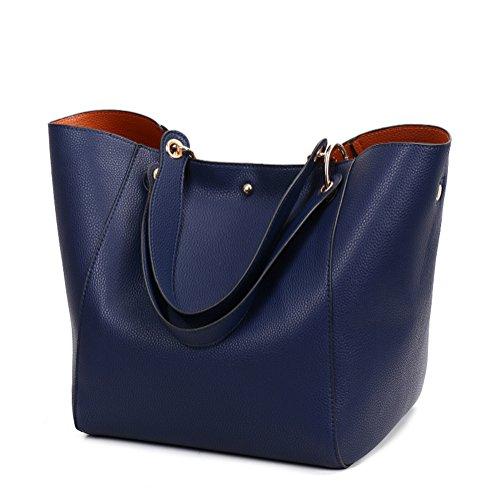 Valleycomfy Damen Tasche Einkaufstasche Pu Leder Handtasche Schultertasche (Blau)