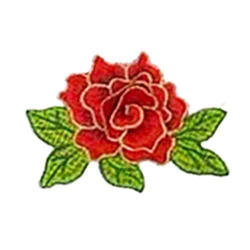 reidimensional Blume Stickerei Applikation Patches für Deko Tasche T-Shirt Jeans Hut Kleidung Bügeleisen-auf Oder Nähen-auf Stoff Patches (Rot) ()