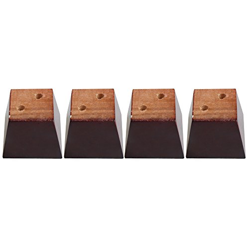 Yibuy 4x Kiefer Holz Trapez Sofa Füße Möbel Beinhebehilfe 12cm Hoch Rotbraun