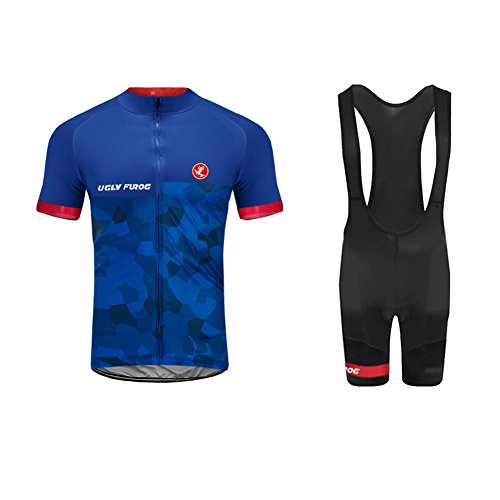 Uglyfrog Bike Wear Sommer Herren Radsport Anzüge Kurzarm Cycling Jersey + Trägerhosen Sport Bekleidung Kit