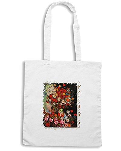 T-Shirtshock - Borsa Shopping TDA0133 van gogh179 vaso con papaveri fiordalisi peonie e crisantemi Bianco