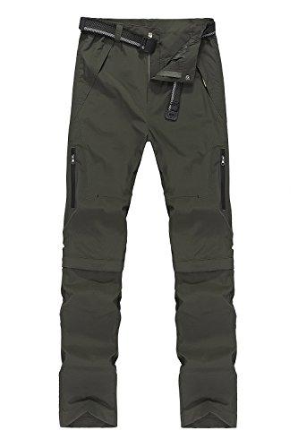 Mr.Stream Pantaloni da Uomo trekking 2in1 per uomo Funzione Quick Dry Tempo Libero 5X-Large Dark green