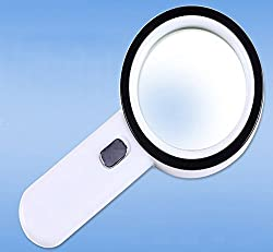 The Wolf Moon Handheld 20x Magnifying Glass Lens With 12 Leds Lightweight Durable Abs Frame Scratch Resist Clear Lens Loupe Ideal For Reading, Crafts, Needlework, Jewelry, Hobbies