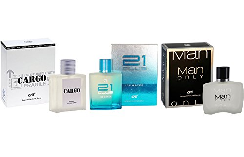 CFS Cargo White, 21 Club Ice Water and Man Only Black Perfume Combo of 3 - 40ml each