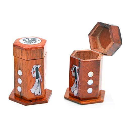 Set von 2Holz-Zahnstocher Halter Tragbarer Clamshell Box für Zahnstocher, eingebettet Muster mit Shell (Clamshell-box)