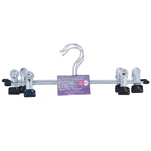 MSV Lote DE 3 Perchas DE Metal Antideslizante con 2 Pinzas, Hierro, Gris, 9x4x30.5 cm