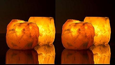 4X Sel de l'himalaya Cristal de roche Bougeoir Bougeoir ionisation de guérison pour