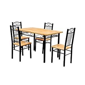 Vidaxl sedie cucina pranzo soggiorno set 4 sedie legno metallo con tavolo da pranzo - Sedie cucina amazon ...