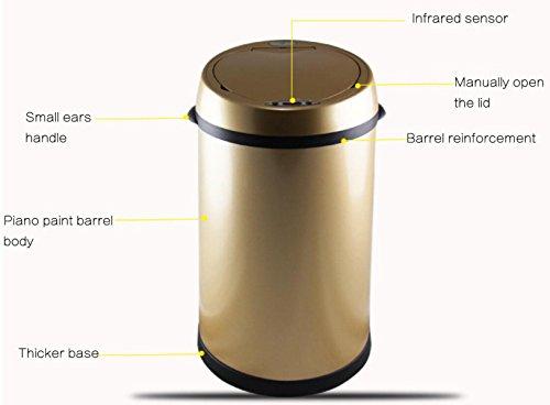 Smart Mülleimer Creative Covered Storage-Boxen Vollautomatische Home Schlafzimmer Küche Wohnzimmer WC Garten 9.7 * 9.7 * 13.4in,Gold
