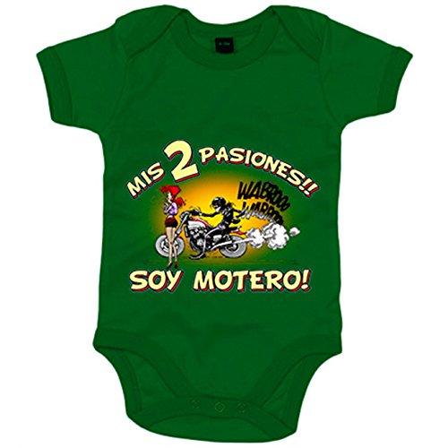 Body bebé mis dos pasiones mi moto y mi chica soy motero - Verde, 6-12 meses