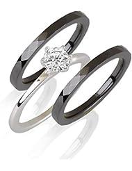 aden' S jewels- 2Colors–Ring Zwei Ringe Schwarze Keramik und Solitär Zirkonia auf Fruchtsauger Silber