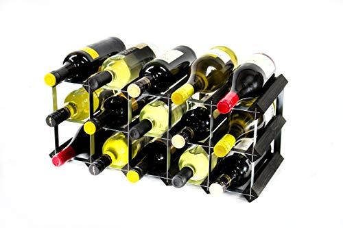 Cranville wine racks Classica cantinetta per 15 Bottiglie di Vino, Realizzata in Robusto Legno di Pino Scuro e Acciaio galvanizzato, già montata.