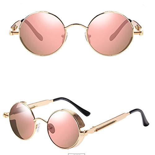 Sonnenbrille - Runde Sonnenbrille Für Herren Und Damen Big Box Punk Sonnenbrille Bunte Sonnenbrille Gold Frame Powder
