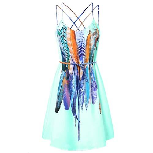 Go First Frauen Sommer Chiffon Minikleid Federn gedruckt Spaghettibügel Kleid Taille Krawatte Kleider Strandkleid (Color : Grün, Size : US Size M = Tag XL) -
