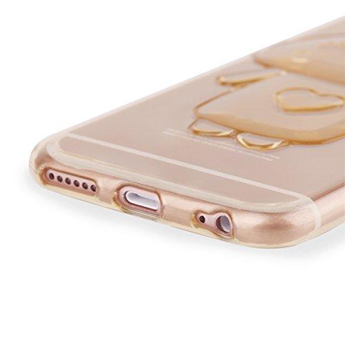 Ego® trasparente silicone TPU 3d per cellulare per iPhone orecchie da coniglio Back Slim Case Crystal Soft Ultra sottile Bunny Coniglio rosa Pink für iPhone 6 6S gold
