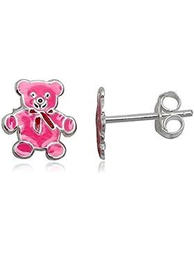 JAYARE Kinder-Ohrstecker Teddy 925 Sterling Silber Emaille 10 x 9 mm rosa pink Ohrringe