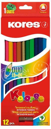 Kores Buntstift Kolores Duo, 3-kant mit Spitzer, 24 farben