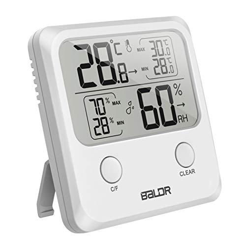 MCvilla Digitales Thermometer Hygrometer Wetterstationen professionelle tragbares Temperatur Luftfeuchtigkeit zur Raumklimakontrolle für Innen und Außen, Weiß