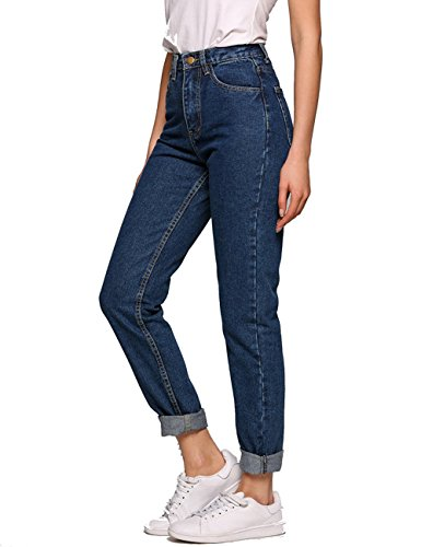 boyfriend jeans damen Taschen Hoch Tailliert Gedehnt Dünn Jeans Denim Grosse Größe (28, Dunkelblau) (Bleistift-bein-hose)