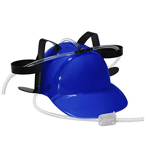 Naisicatar Guzzler Trinken Helm und Dosenhalter Trinker-Hut-Kappe mit Stroh für Bier und Soda für Partei-Fußball-Spiele Halloween Weihnachten Spaß (blau) Spaß-Spielzeug für Kinder