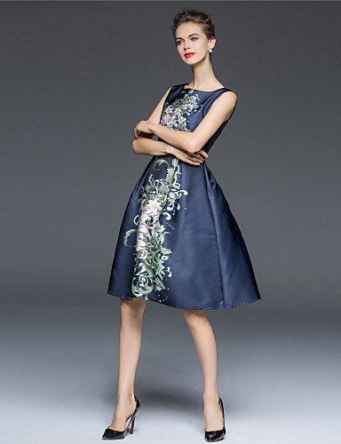 PU&PU Robe Aux femmes Gaine / Patineuse Vintage,Fleur Col Arrondi Mi-long Polyester DARKBLUE-XL